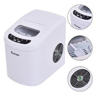 Costway White Portable Compact Electric Ice Maker Machine Mini Cube 26lb/Day