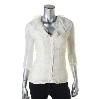 Catherine Malandrino Womens Silk Button Front Blouse - 4
