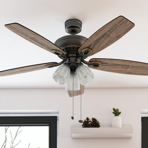 Prominence Home Marston Ceiling Fan, Rustic Farmhouse, Prismatic Glass, Barnwood Blades, Oil-Rubbed Bronze - 52-inch