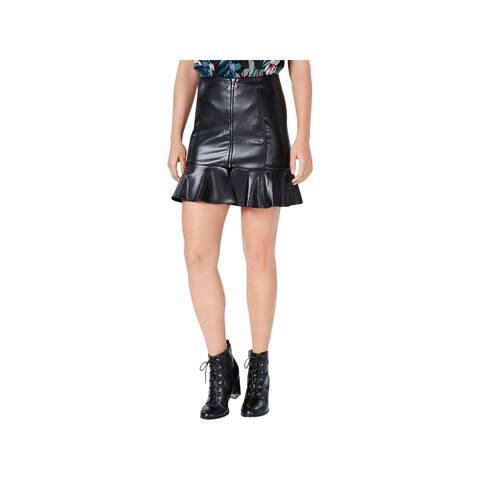 Guess Womens Mini Skirt Faux Leather Ruffled Hem - 6