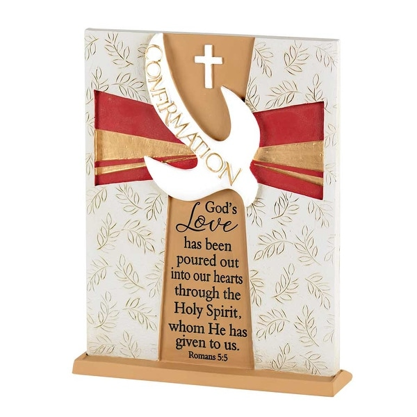 """7.5"""" Red and Brown Religious Quotes Accented Tabletop Plaque - N/A"""