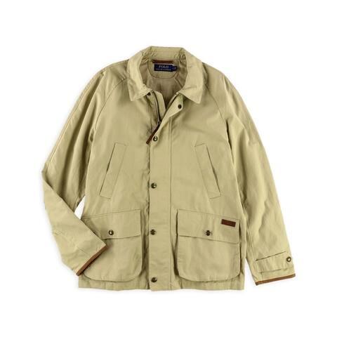 Ralph Lauren Mens Twill Coat, beige, Large
