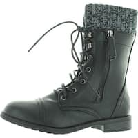 Forever Link Womens Justina-58 Sweater Cuff Combat Boots