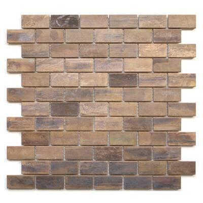Eden Mosaic Tile: Medium Brick Antique Copper Tile 11.8x11.8 (11 tiles/10.63 Sqft)