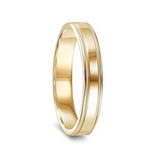 14k Yellow Gold Womens Polished Wedding Band With Milgrain Accents 4mm