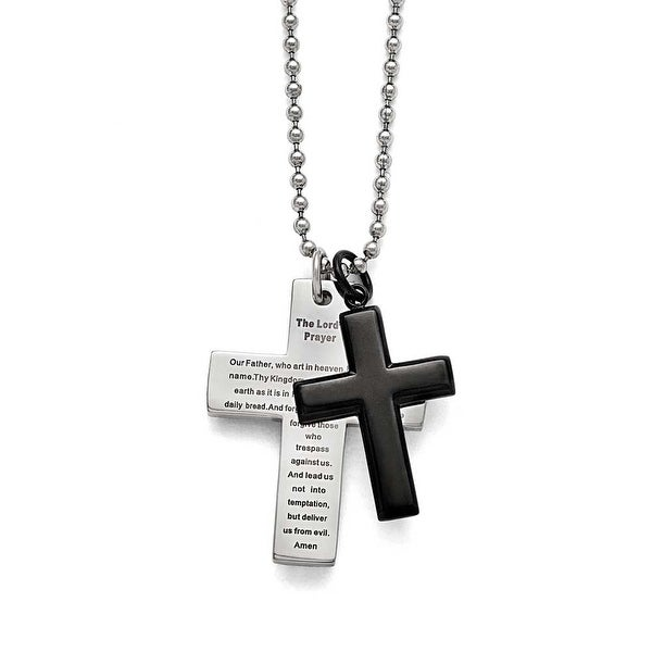 Chisel Stainless Steel Polished Black IP-plated Lord's Prayer Cross Necklace - 24 in