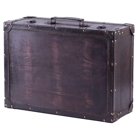 Vintiquewise Cherry Wooden Vintage-style Suitcase with Leather Trim - Exact Color