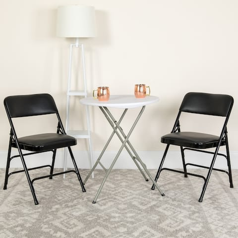 2PK Curved Triple Braced & Double Hinged Vinyl Metal Folding Chair