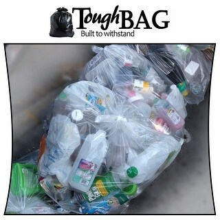 Toughbag Rubbermaid Compatible 44 Gallon Trash Bag 100 Garbage Bags (Clear)