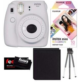 Fujifilm Instax Mini 9 (Smokey White) w/Macaron Film , Photo Album & Tripod Kit