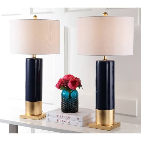 """Safavieh Lighting 31-inch Dolce Navy/ Gold Table Lamp (Set of 2) - 15""""x15""""x31"""""""