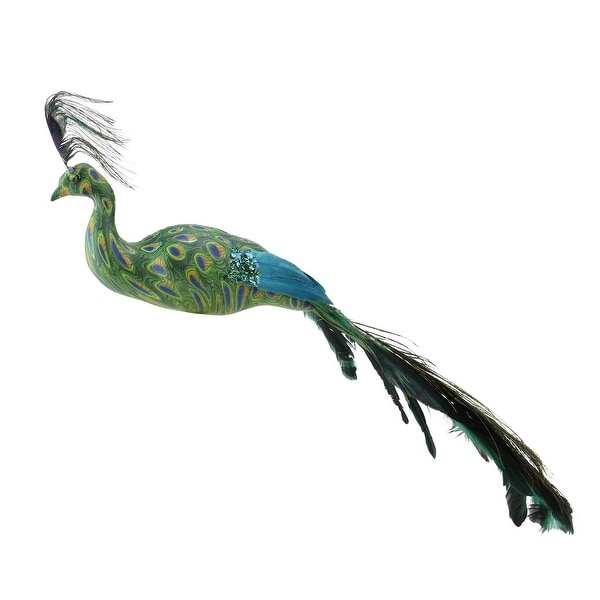 "3.5"" All Eyes on Me Green and Teal Decorative Peacock Bird Clip-On Christmas Ornament"