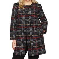 Nine West Black Women's Size 14W Plus Plaid Print Topper Jacket