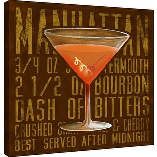 "PTM Images 9-100027  PTM Canvas Collection 12"" x 12"" - ""Manhattan (Square)"" Giclee Liquor & Cocktails Art Print on Canvas"
