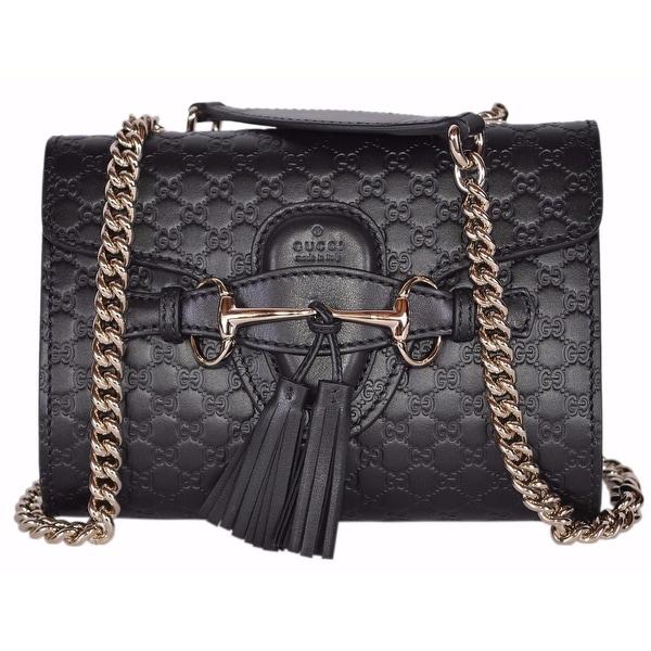 7f81aac02113 Gucci 449636 Black Micro GG Guccissima Leather MINI Emily Crossbody Purse