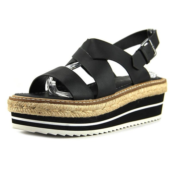 Sixtyseven 77920 Women Open Toe Leather Black Platform Sandal