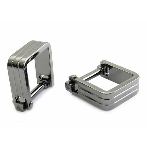 Square Wrap Gun Metal Cufflinks