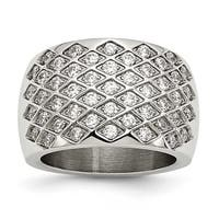 Stainless Steel CZs Polished Ring (15 mm)