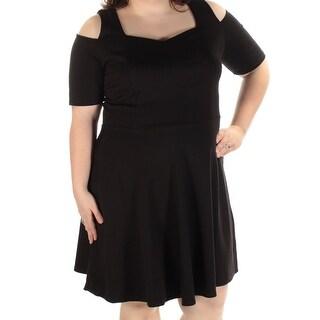 MONTEAU $59 Womens New 1133 Black Short Sleeve Fit + Flare Dress 2X Plus B+B