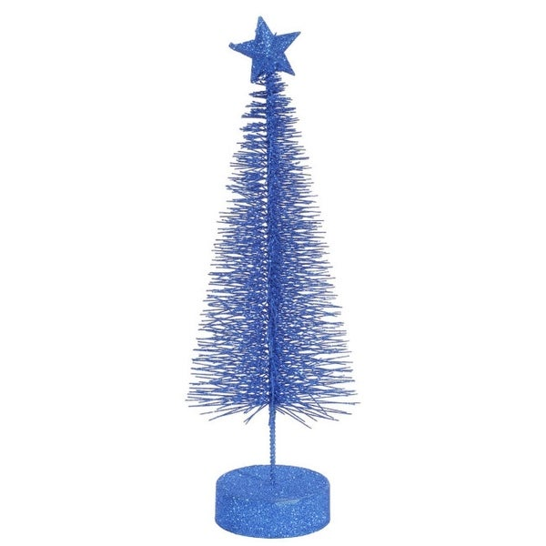 Pack of 2 Lavish Blue Glitter Sisal Artificial Table Top Christmas Trees 12""