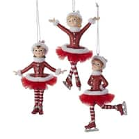 """Pack of 12 Red, Silver and White Ice Skater Ballerina Christmas Figure Ornaments 5"""""""