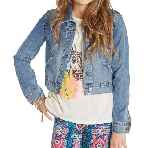 Billabong Blue Girls Size XS Button Front Gypsy Heart Denim Jacket