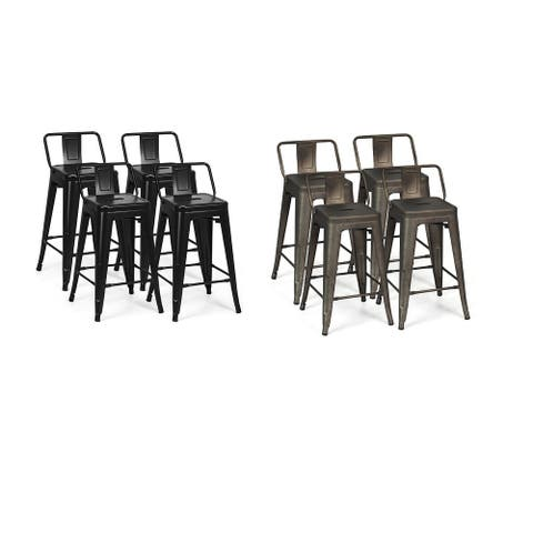Costway Set of 4 Low Back Metal Counter Stool 24'' Seat Height