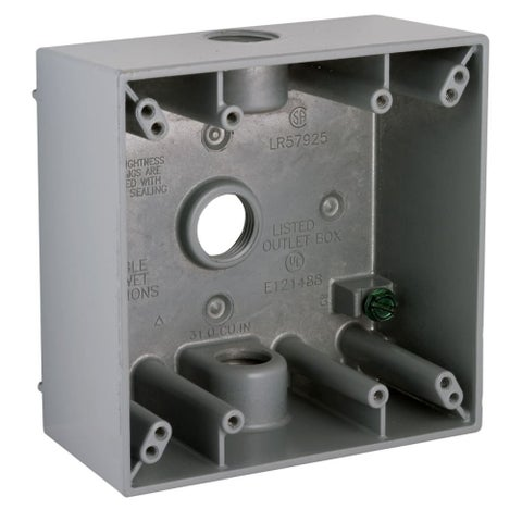 """Raco 5333-0 3-7/8"""" Wide 2 Gang Switch Box with 3 Threaded Outlets - gray - N/A"""