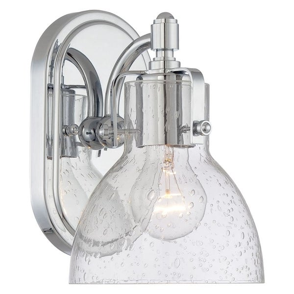 "Minka Lavery 5721 1 Light 8.5"" Height Bathroom Sconce with Clear Seeded Shade from the Seeded Bath Art Collection - Chrome"
