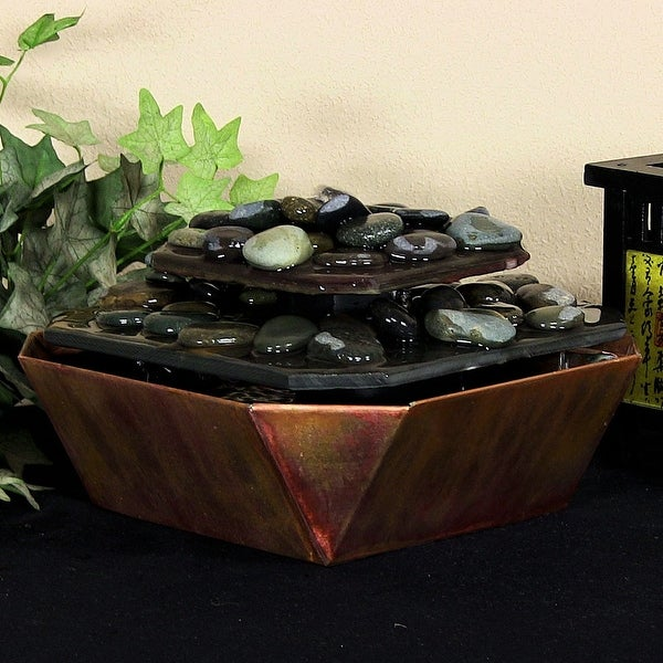 Sunnydaze Copper & Slate Table Rock Tabletop Fountain 6 Inch Tall