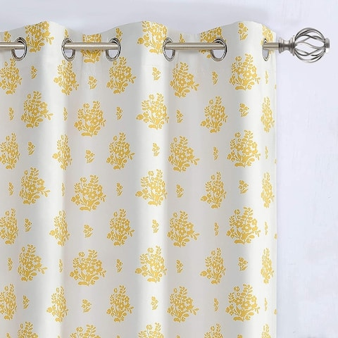 DriftAway Rina Vintage Floral Botanical Pattern Blackout Lined Window Curtain