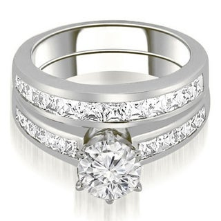 2.10 CT.TW Channel Set Princess Cut Diamond Bridal Set in 14KT Gold - White H-I