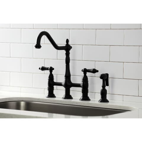 Heritage Bridge Kitchen Faucet with Brass Sprayer