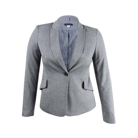 Tommy Hilfiger Women's Pinstriped One-Button Jacket - Grey Multi