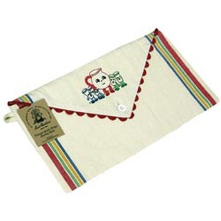 "Multi Stripe W/Red Rickrack Trim - Vintage Stripe Sewing Sack 18""X9.5"""