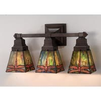 """Meyda Tiffany 48036 Stained Glass / Tiffany 3 Light 20"""" Wide Bathroom Fixture from the Prairie Dragonfly Collection"""