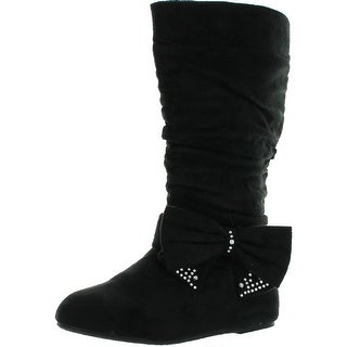 Qq Girls Bella-7 Little Girls Jr Youth Mid Calf Tall Fux Suede Ribbon Pretty Comfy Boots
