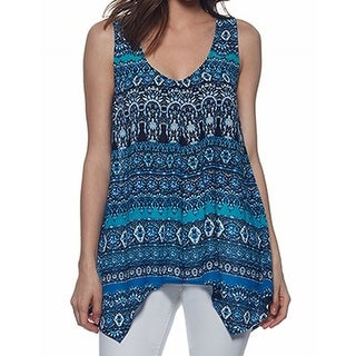Skye's the Limit NEW Blue Women's Large L V-Neck Printed Tank Cami Top