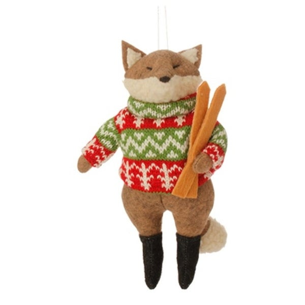 "7.5"" Country Cabin Stuffed Animal Fox with Green and Red Sweater and Skis Christmas Figure Ornament - brown"