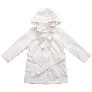 Richie House Baby Girls White Ruffle Detail Neckline Belted Hood Jacket 3-24M