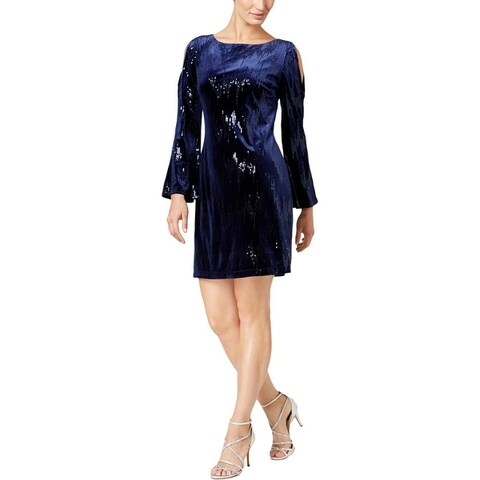 Jessica Howard Womens Cocktail Dress Sequined Velvet