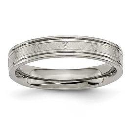Chisel Titanium 4.5mm Satin and Polished Roman Numerals Band