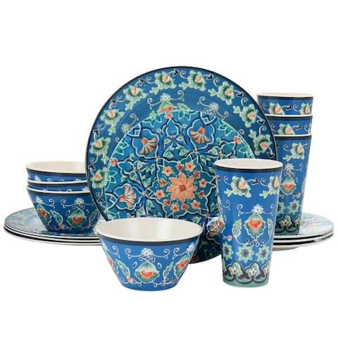 Gibson Home 16 Piece Tacoma Melamine Dinnerware Set in Blue