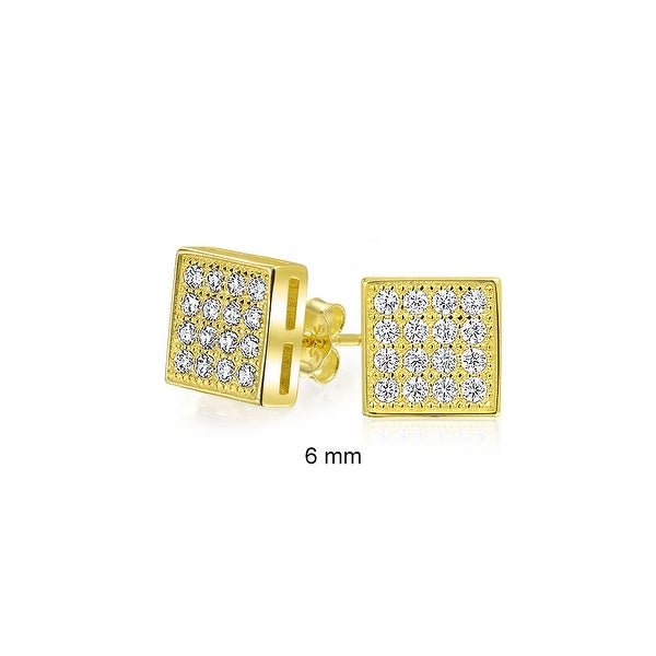 ddf7f721c Shop Geometric Square Shaped Cubic Zirconia Micro Pave CZ Stud Earrings For  Men For Women 14k Gold Plated Sterling Silver 6mm - On Sale - Free Shipping  On ...