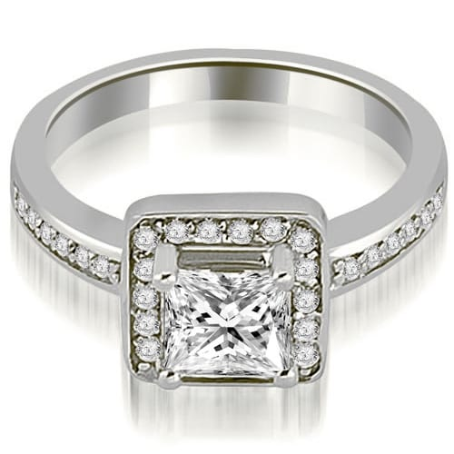 0.80 cttw. 14K White Gold Halo Princess and Round Cut Diamond Engagement Ring
