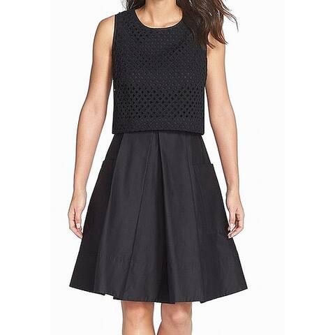 Eliza J Women's Dress Black Size 2 Eyelet Pleated A-Line Popover