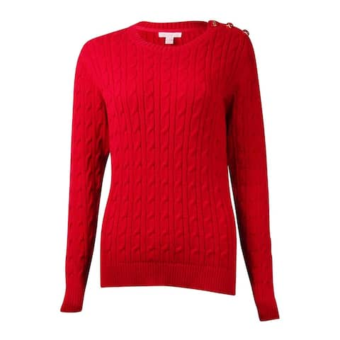 Charter Club Women's Button-Trim Cable Crewneck Sweater