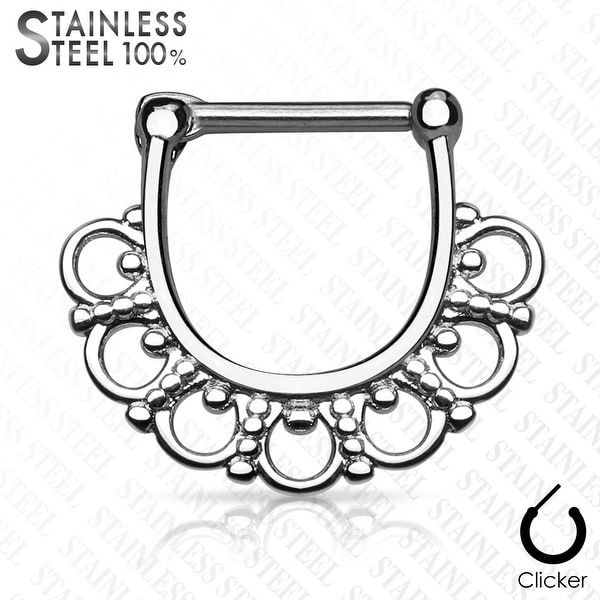 Tribal Fan Filigree Surgical Steel Septum Clicker (Sold Ind.)