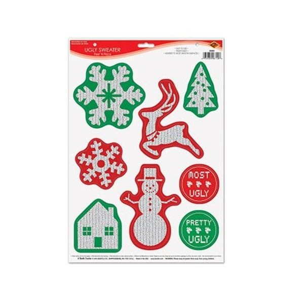 """Club Pack of 96 Ugly Sweater Peel 'N Place Christmas Decorations 17"""" - green"""