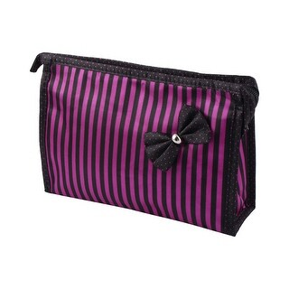 Women Nylon Stripe Pattern Cosmetic Bag Organizer w Mirror Black Fuchsia